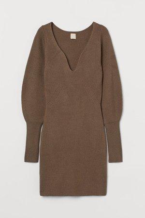 Rib-knit Dress - Beige