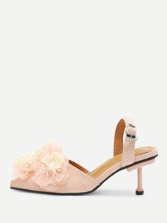 Flower Applique Stiletto Heels
