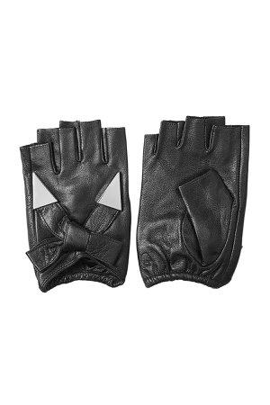 Fingerless Leather Gloves with Embellishment Gr. S/M