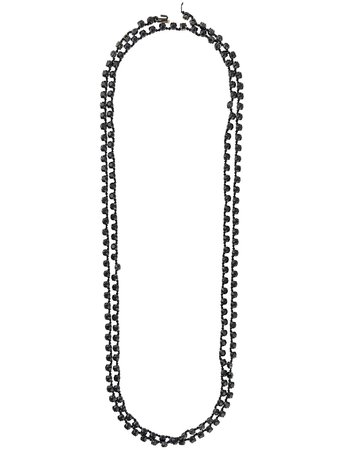 Black Ann Demeulemeester long crystal chain necklace 18028624410099 - Farfetch