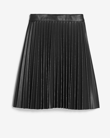 High Waisted Pleated Vegan Leather Mini Skirt | Express