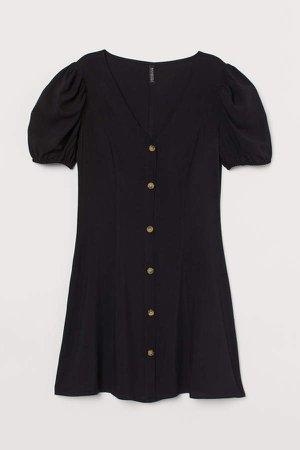 Short Viscose Dress - Black