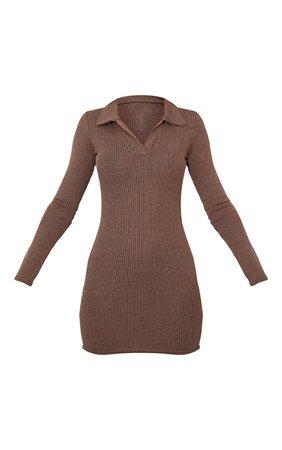 Chocolate Contrast Rib Open Bodycon Dress   PrettyLittleThing USA