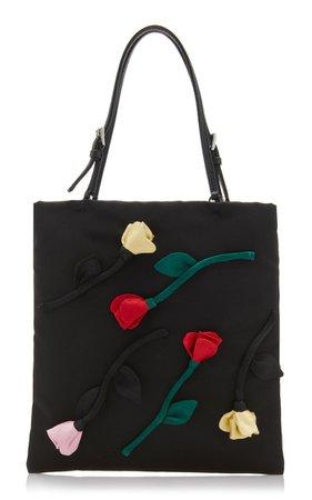 Flower Embellished Tessuto Mini Top Handle Bag By Prada | Moda Operandi