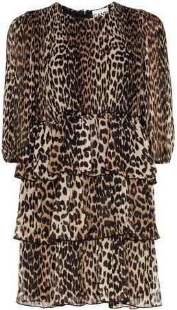 Leopard Print Georgette Mini Dress