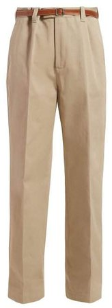 Leather Belted Straight Leg Twill Trousers - Womens - Beige