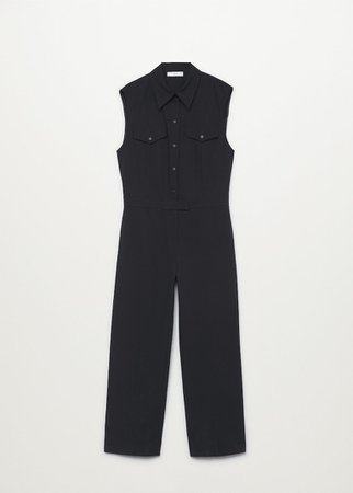 Long chest-pocket jumpsuit - Women   Mango USA