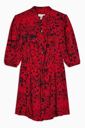 PETITE Red Animal Mini Shirt Dress | Topshop
