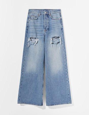 Ripped extra baggy jeans - Denim - Woman | Bershka