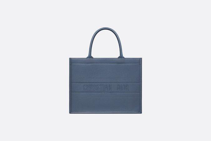 Small Dior Book Tote Dark Denim Blue Calfskin - Bags - Woman   DIOR