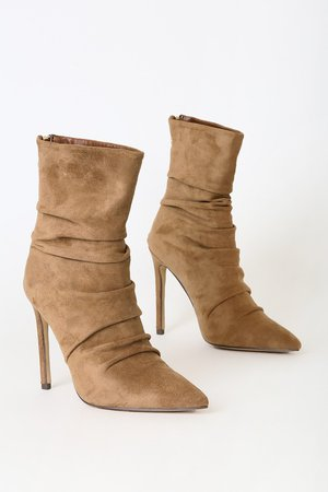 Cute Tan Boots - Mid-Calf Boots - Vegan Suede Pointed Toe Boots