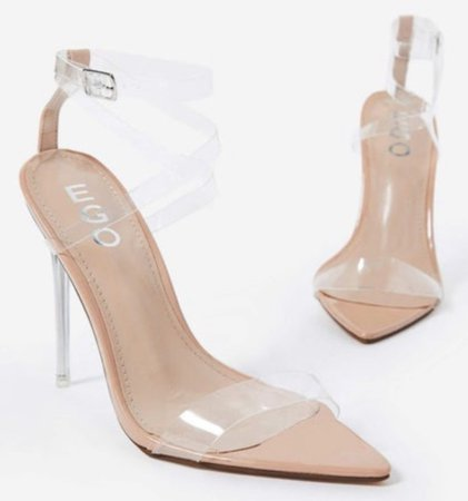 Nude/Clear Heeled Sandals