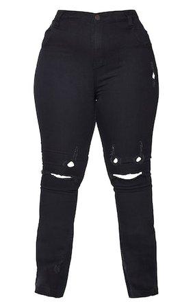 Plus Black Distressed Knee Flare Jean | PrettyLittleThing USA