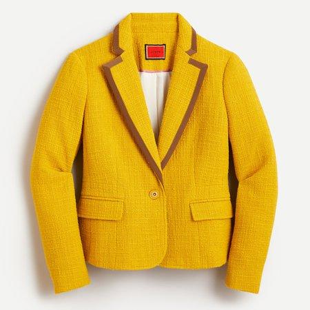 J.Crew: Peplum Blazer In Textured Tweed in Warm Chartreuse