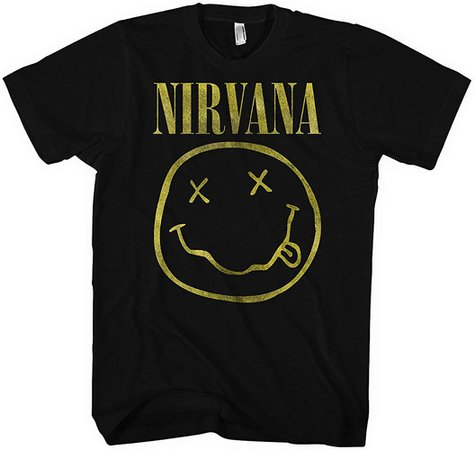 Nirvana Distressed Smiley Mens Music Band Tee (Small): Amazon.ca: Clothing & Accessories