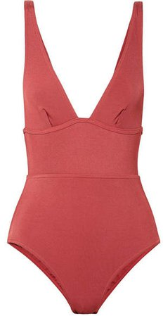 Ribbed Swimsuit - Coral