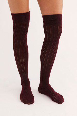 Ribbed Knit Knee Highs   Free People