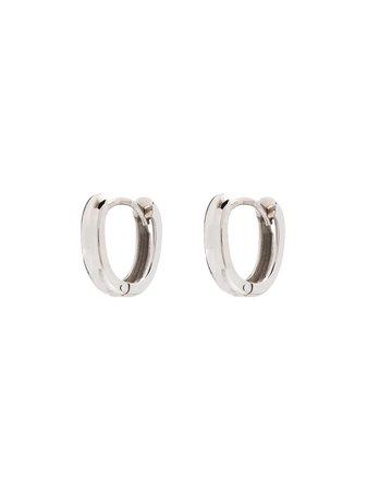 Marla Aaron 18kt White Gold Base Hoop Earrings - Farfetch