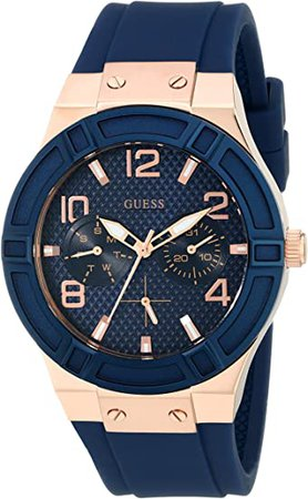 GUESS Women's Rigor Stainless Steel Japanese Quartz Watch with Silicone Strap, Blue, 24 (Model: U0571L1): Guess: Watches