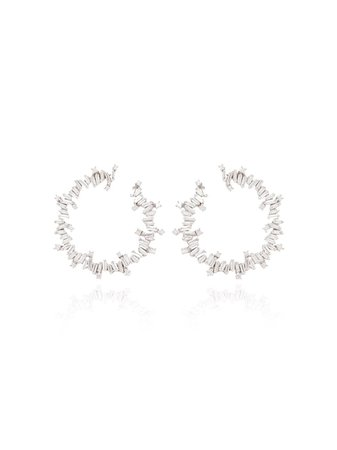 Suzanne Kalan 18kt White Gold Diamond Hoop Earrings - Farfetch