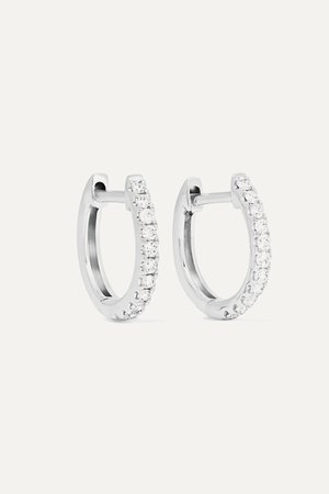 White gold Huggies 18-karat white gold diamond earrings | Anita Ko | NET-A-PORTER