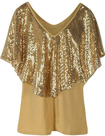 PrettyGuide Women's Sequin Party Dressy Top Glitter Short Sleeve Slim Classic Shirt Blouse L Gold at Amazon Women's Clothing store: