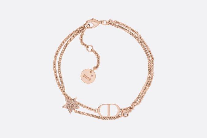 Pink Crystal Petit CD Rose Gold-Finish Double Bracelet - Fashion Jewellery - Women's Fashion | DIOR