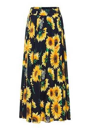 Maxi Skirt for Women - Long Floral Skirt Great for Travel, Beach, Cocktail or Party (S, Black Sunflower Skirt) at Amazon Women's Clothing store: