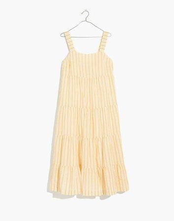 Striped Button-Back Tiered Midi Dress yellow