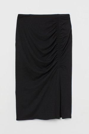 Gathered Jersey Skirt - Black