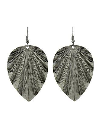 Gunblack Long Earrings With Leaf Charm Drop Earrings