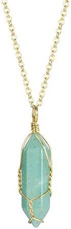 """Amazon.com: BOUTIQUELOVIN Green Quartz Stone Pendant Necklace Gold Tone on 20"""" Chain (Green Aventurine): Jewelry"""