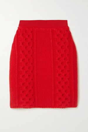Cable-knit Wool And Cotton-blend Mini Skirt - Red