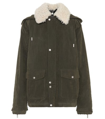 Fur-trimmed cotton jacket