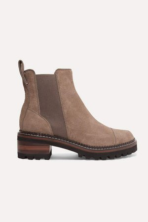 Suede Chelsea Boots - Taupe