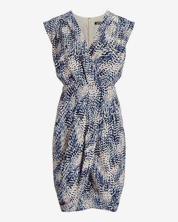 Printed Ruched V-neck Sheath Dress   Express