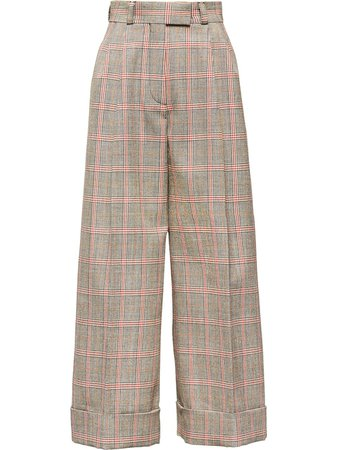 Miu Miu Plaid Cropped Wide-Leg Trousers MP13681V6V Orange | Farfetch