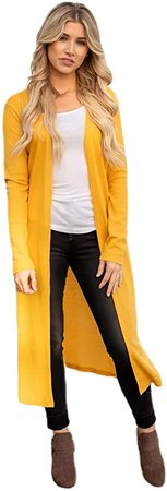 Tickled Teal Women's Soft Long Sleeve Pocket Cardigan (Yellow Duster (No Pocket), Large) at Amazon Women's Clothing store