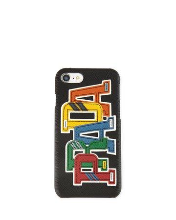 Prada Saffiano Logo Patch iPhone 7 Case | Neiman Marcus