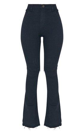 Black Distressed Knee Flare Jean | Denim | PrettyLittleThing USA