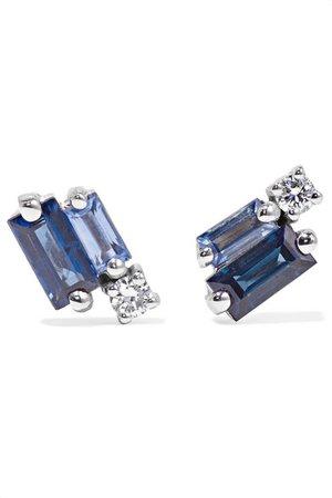 Suzanne Kalan | 18-karat white gold, sapphire and diamond earrings | NET-A-PORTER.COM