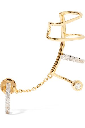 MARIA BLACK Ines Blanc convertible 14-karat gold, rhodium-plated and diamond ear cuff$1,850