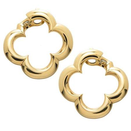Van Cleef and Arpels Large Gold Alhambra Earrings