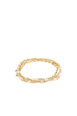 Kendra Scott Mollie Stretch Bracelet Set in Gold & White Pearl | REVOLVE