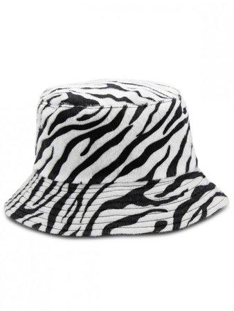 [10% OFF] 2019 Zebra-stripe Design Bucket Hat In WHITE   ZAFUL