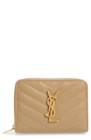 Saint Laurent Monogramme Compact Quilted Zip Around Wallet | Nordstrom