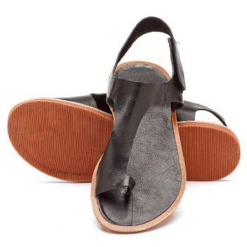 Rasteira Flat Preta em couro 136016 | Laranja Lima Shoes