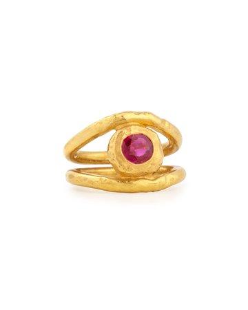 Jean Mahie Fleur 22K Gold Ruby Ring