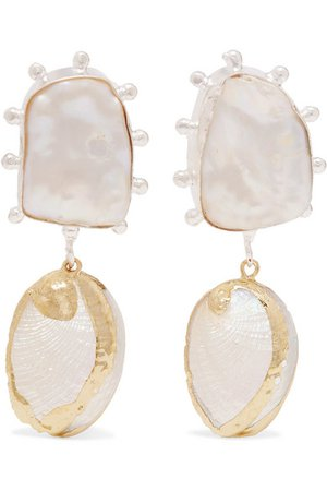 Peet Dullaert | Vaia gold-plated, pearl and shell earrings | NET-A-PORTER.COM