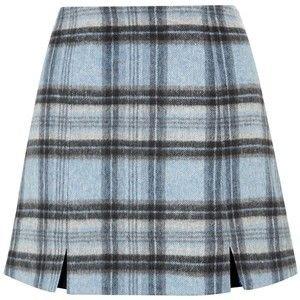 Blue Check Split Front Mini Skirt